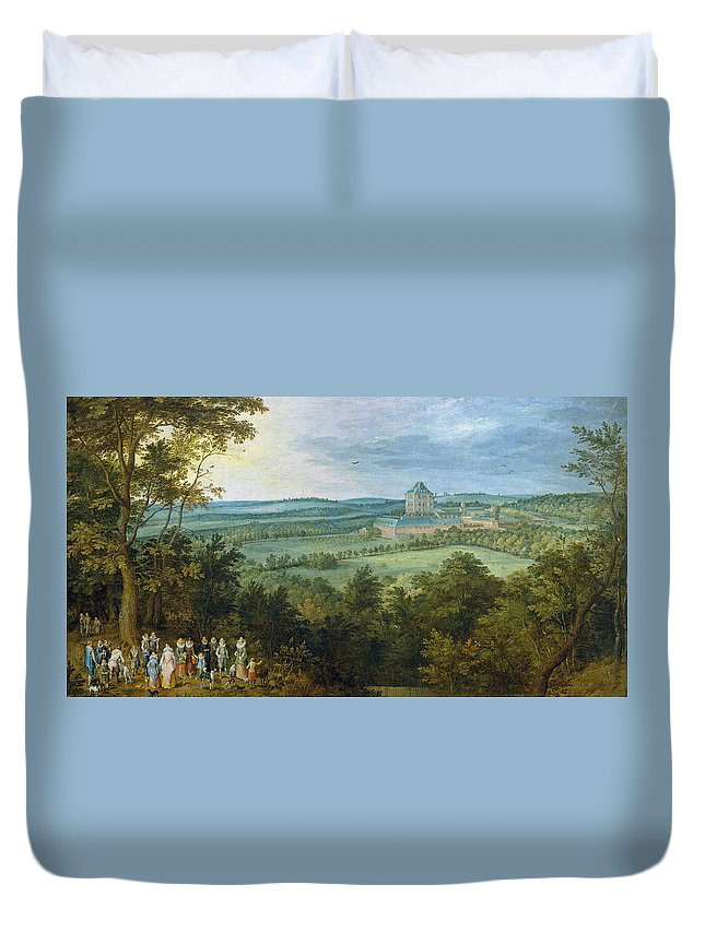 Animal Duvet Cover featuring the painting The Archdukes Hunting by Jan Brueghel the Elder