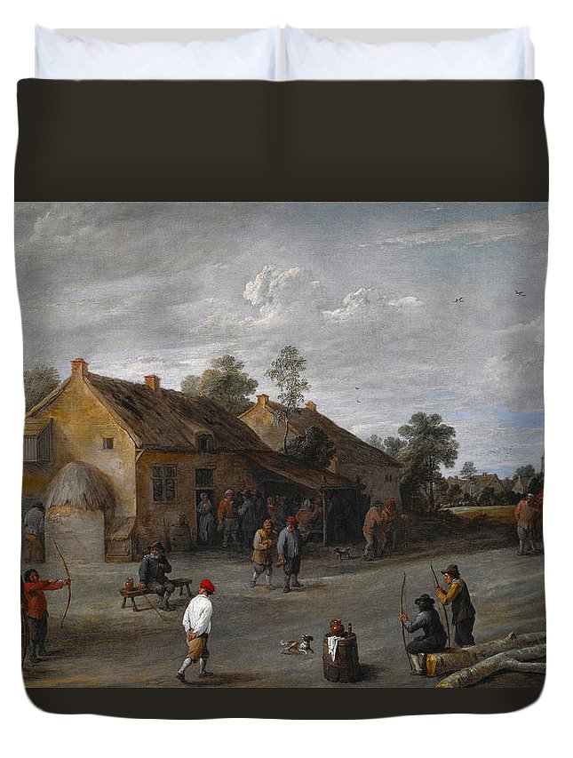 Arts Duvet Cover featuring the painting The Archers by David Teniers the Younger