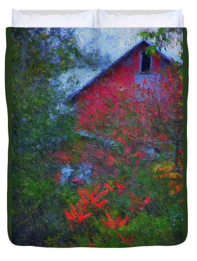 Digital Photo Duvet Cover featuring the photograph The Barn by David Lane