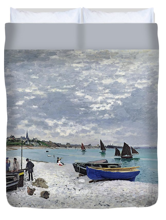 Coastal;french;rowing Boat;sailing;sainte Adresse; Boats Duvet Cover featuring the painting The Beach At Sainte Adresse by Claude Monet