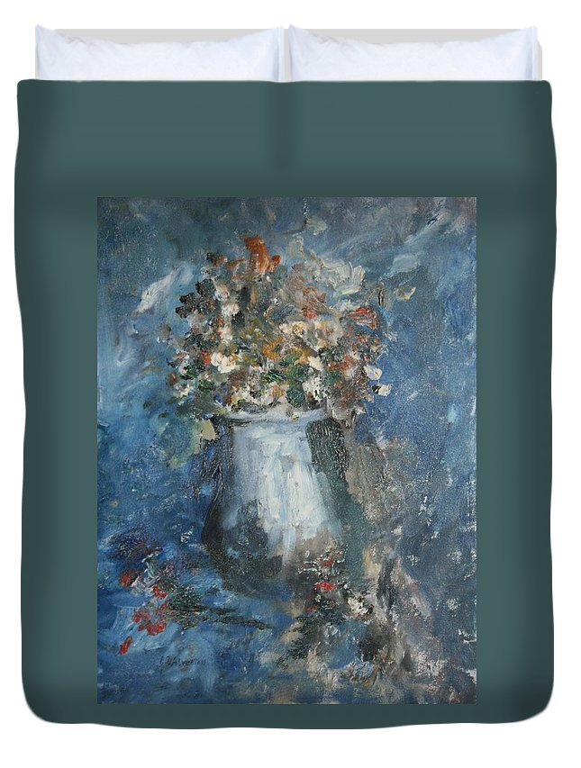 Still Life Duvet Cover featuring the painting The Blue Vase by Edward Wolverton