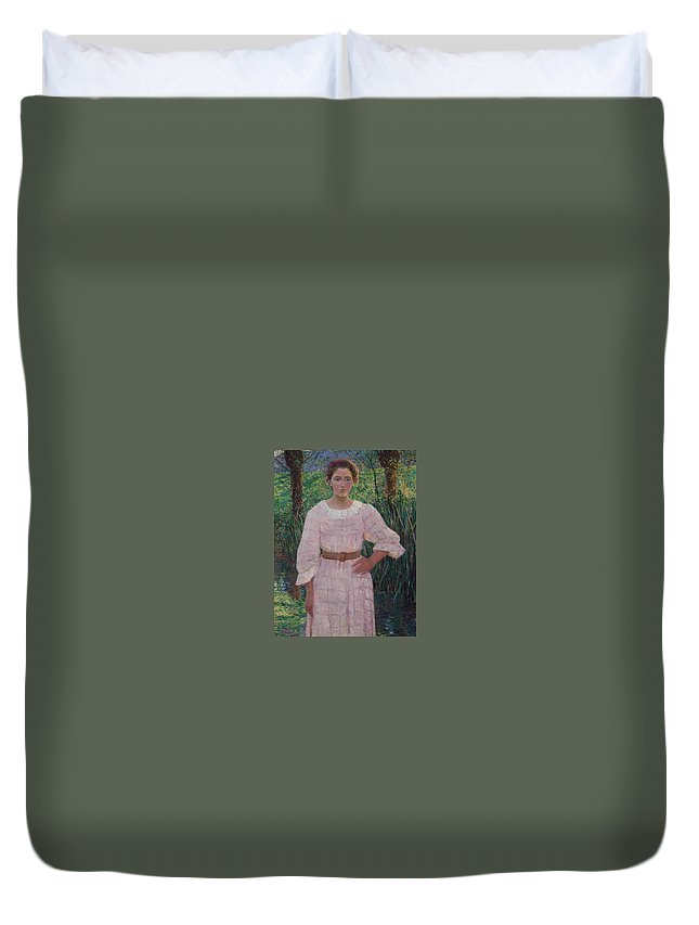 Lilla Cabot Perry () By The Brook Duvet Cover featuring the painting The Brook by MotionAge Designs