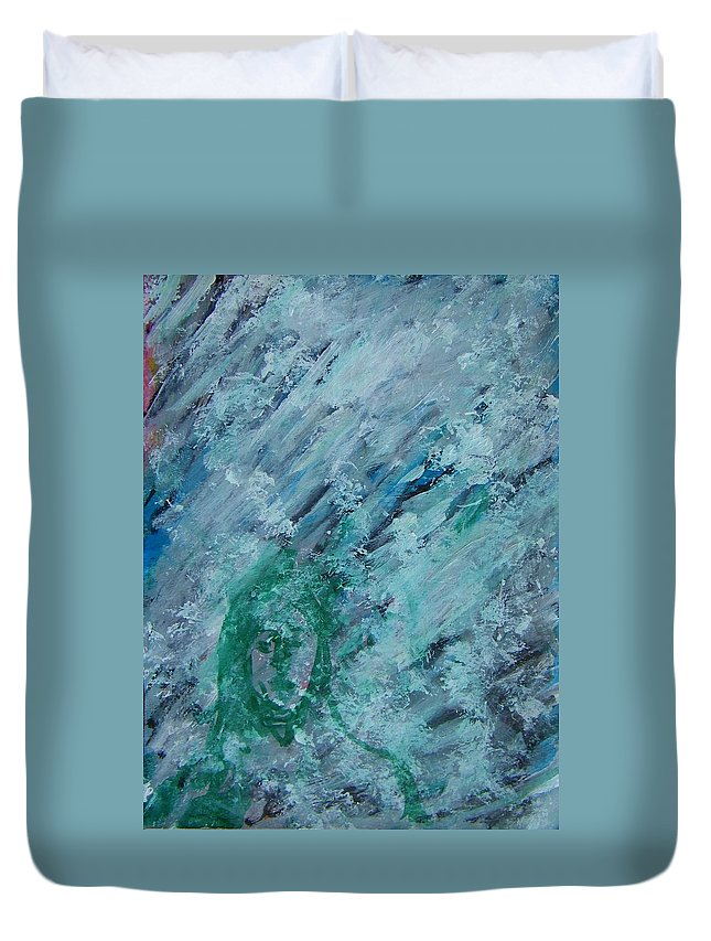 Abstract Duvet Cover featuring the painting The California Snow by Judith Redman