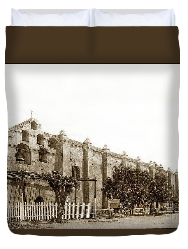 Campanario Duvet Cover featuring the photograph The Campanario, Or Bell Tower Of San Gabriel Mission Circa 1890 by California Views Archives Mr Pat Hathaway Archives