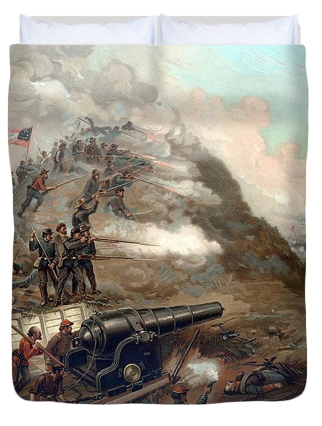 Civil War Duvet Cover featuring the painting The Capture Of Fort Fisher by War Is Hell Store