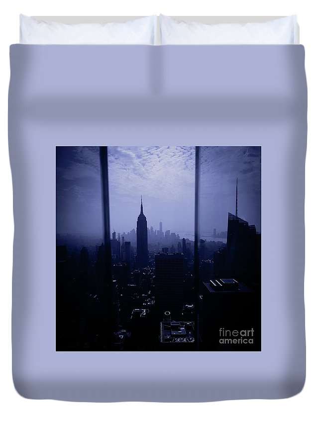 Top Of The Rock Duvet Cover featuring the photograph The City Below by Victory Designs