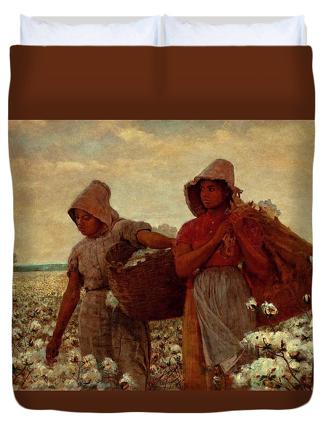 The Cotton Pickers Duvet Cover featuring the painting The Cotton Pickers by Winslow Homer