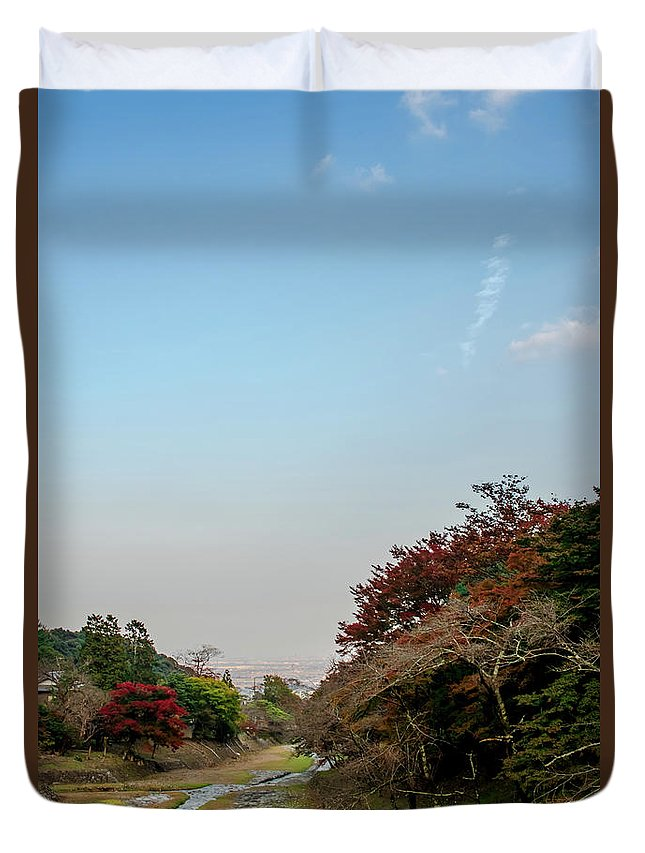 2016 Duvet Cover featuring the photograph The Creek At The Yoro Waterfall In Gifu, Japan, November, 2016 by Eiko Tsuchiya