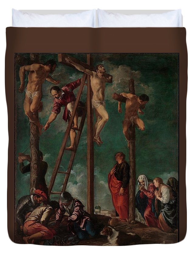 Pedro Orrente The Crucifixion Duvet Cover featuring the painting The Crucifixion by Pedro Orrente
