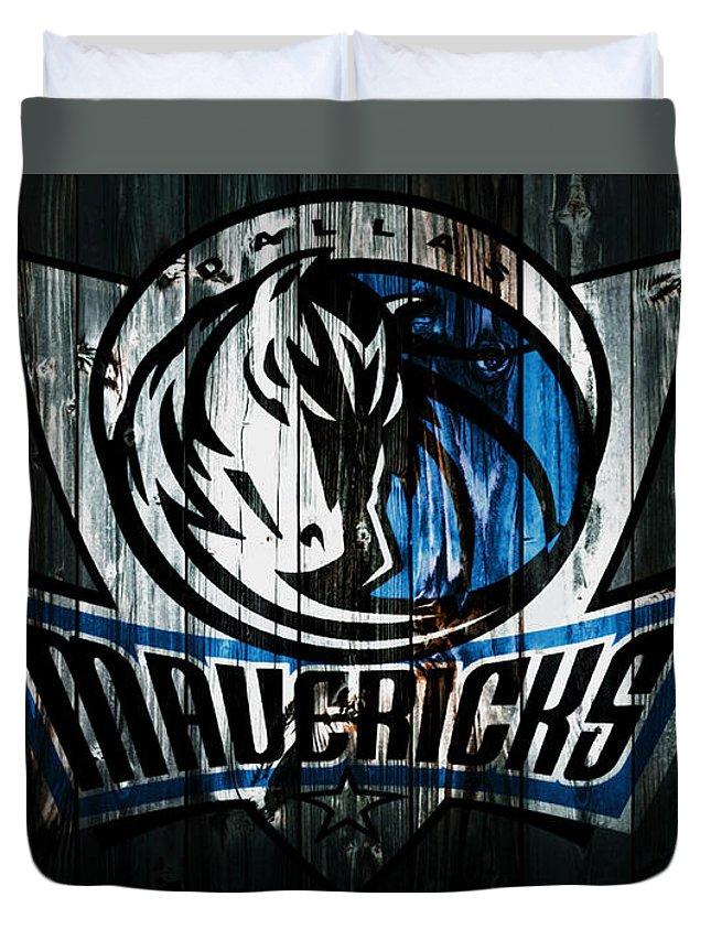 Dallas Mavericks Duvet Cover featuring the mixed media The Dallas Mavericks 2b by Brian Reaves