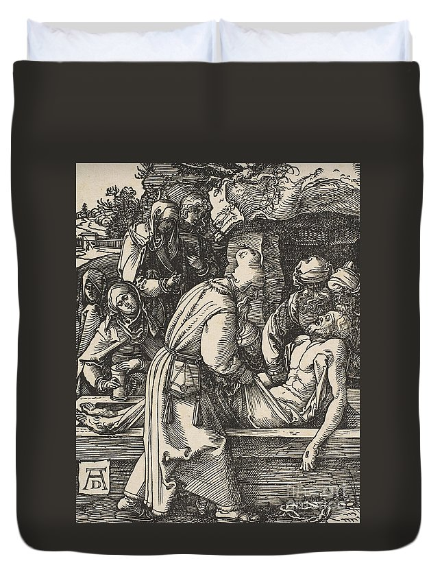 Print Duvet Cover featuring the drawing The Deposition by Albrecht Durer