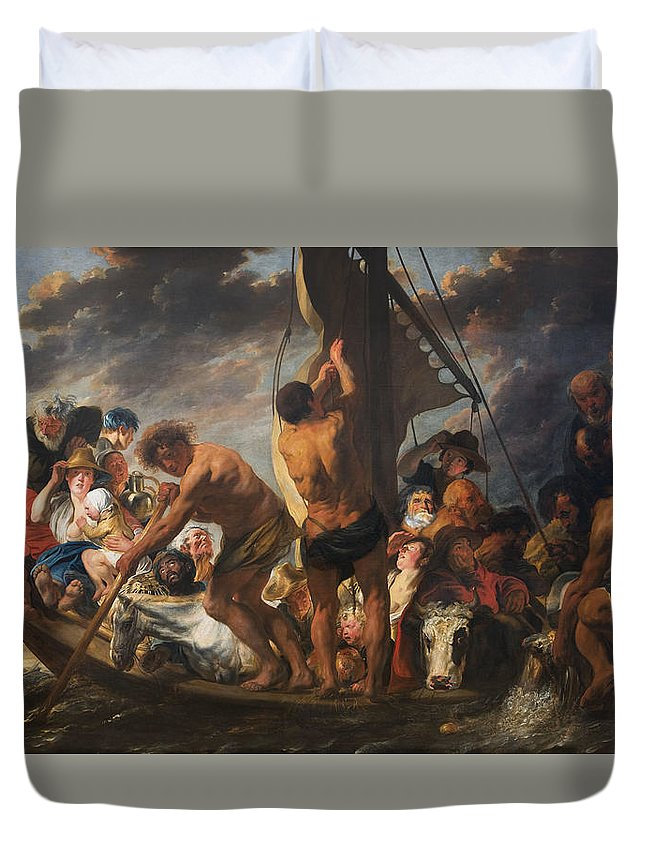 Animal Duvet Cover featuring the painting The Ferry Boat To Antwerp by Jacob Jordaens