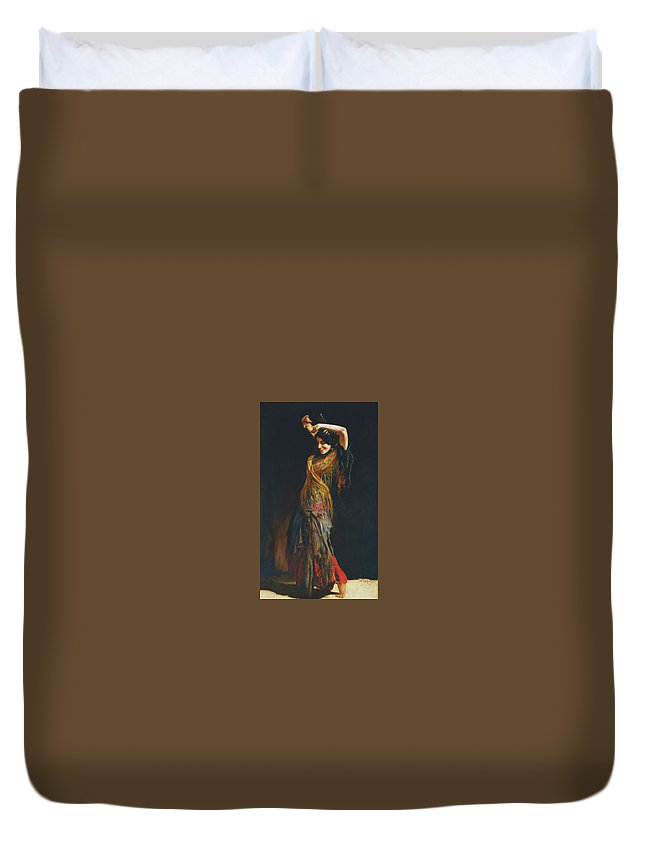 Leopold Schmutzler (austrian Duvet Cover featuring the painting The Flamenco Dancer by MotionAge Designs