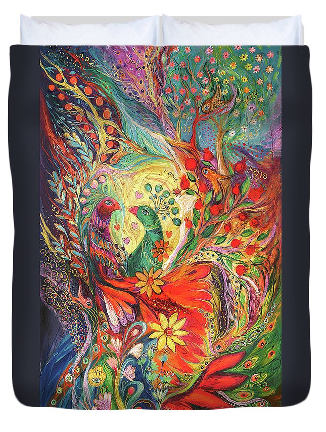 Original Duvet Cover featuring the painting The Flowers And Fruits by Elena Kotliarker