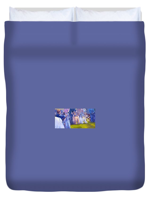 Afghan Hound Duvet Cover featuring the painting The Girls by Terry Chacon
