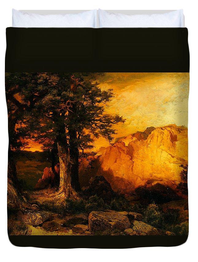 Thomas Moran Duvet Cover featuring the painting The Grand Canyon by Thomas Moran