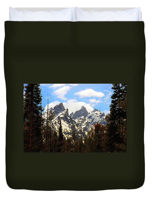 Photography Duvet Cover featuring the photograph The Grand Tetons by Susanne Van Hulst