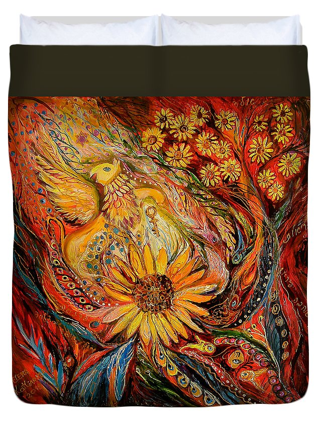 Original Duvet Cover featuring the painting The Griffin Kingdom by Elena Kotliarker