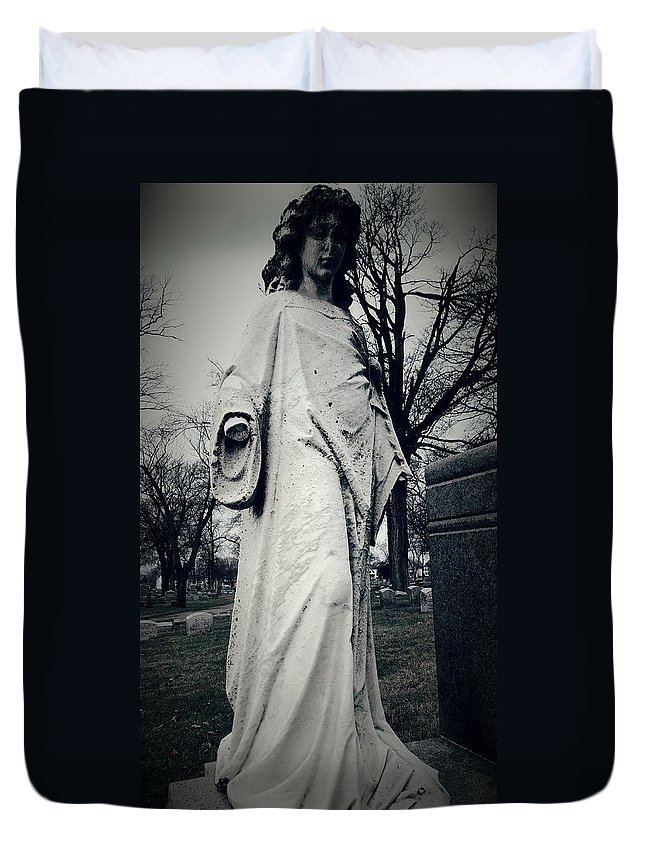 Vintage Female Statue Duvet Cover featuring the photograph The Guardian by Katherine Doerr