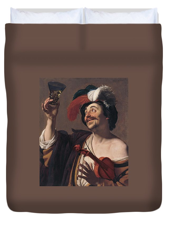 Arts Duvet Cover featuring the painting The Happy Violinist by Gerard van Honthorst