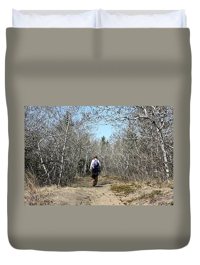 Hike Duvet Cover featuring the photograph The Hike by Pat Purdy