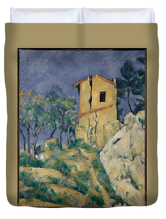 Paul Czanne The House With The Cracked Walls Duvet Cover featuring the painting The House With The Cracked Walls by Paul Czanne