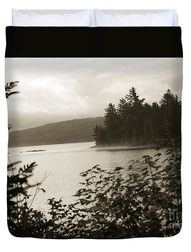 Lake Duvet Cover featuring the photograph The Lake Of Two Rivers At Dawn by Oleksiy Maksymenko