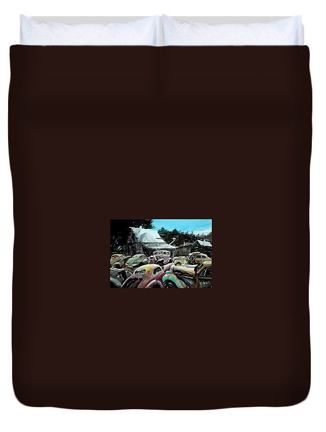 Cars Duvet Cover featuring the painting The Last Stand by Ron Morrison