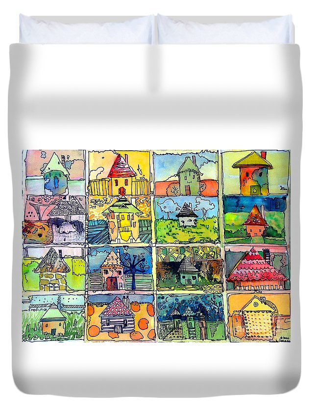 Houses Duvet Cover featuring the painting The Little Houses by Mindy Newman