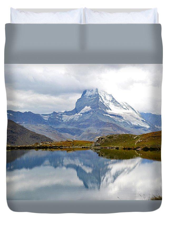 Matterhorn Duvet Cover featuring the photograph The Matterhorn And Lake Stellisee by Jeffrey Hamilton