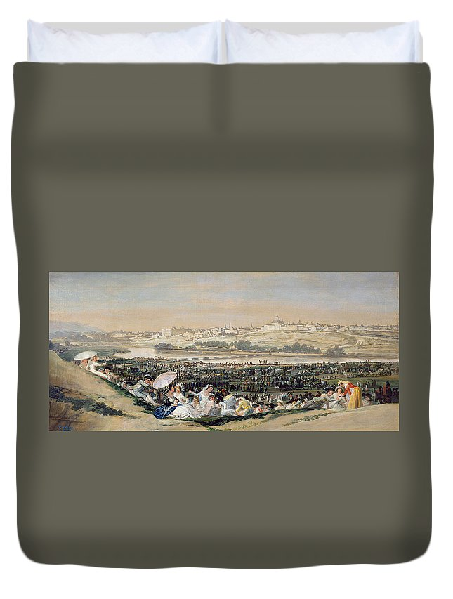 Cityscape Duvet Cover featuring the painting The Meadow Of San Isidro by Francisco Goya