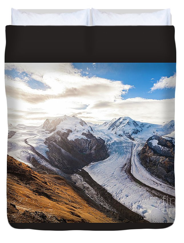 Zermatt Duvet Cover featuring the photograph The Monte Rosa Massif In Switzerland by Werner Dieterich