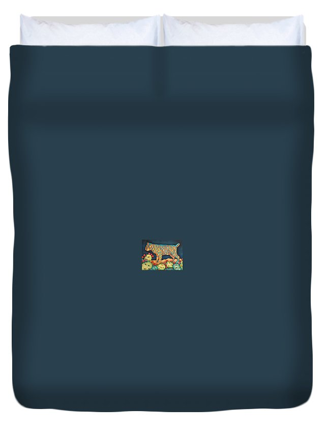 Cat Duvet Cover featuring the painting The Moon The Mountains Cacti A Cat by Jeniffer Stapher-Thomas