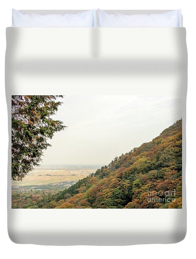 2016 Duvet Cover featuring the photograph The Mountain View At The Yoro Waterfall In Gifu, Japan, November by Eiko Tsuchiya