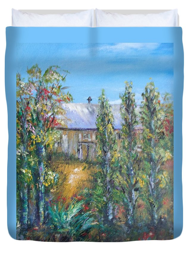 Landscape Duvet Cover featuring the painting The Old Barn by Eydie Paterson