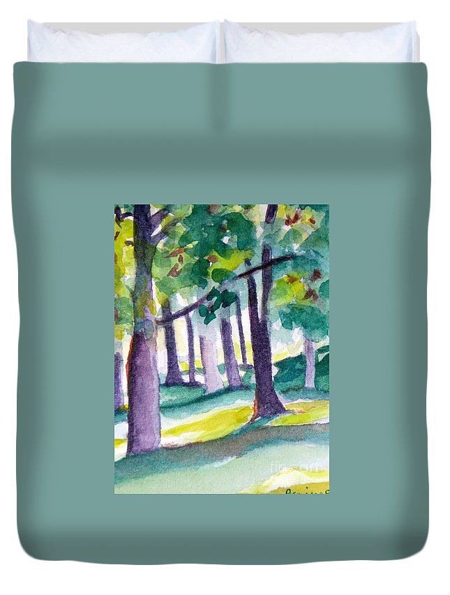 Nature Duvet Cover featuring the painting The Perfect Day by Jan Bennicoff