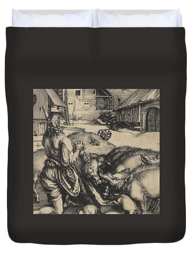 Religion Duvet Cover featuring the drawing The Prodigal Son 1 by Albrecht Durer or Duerer