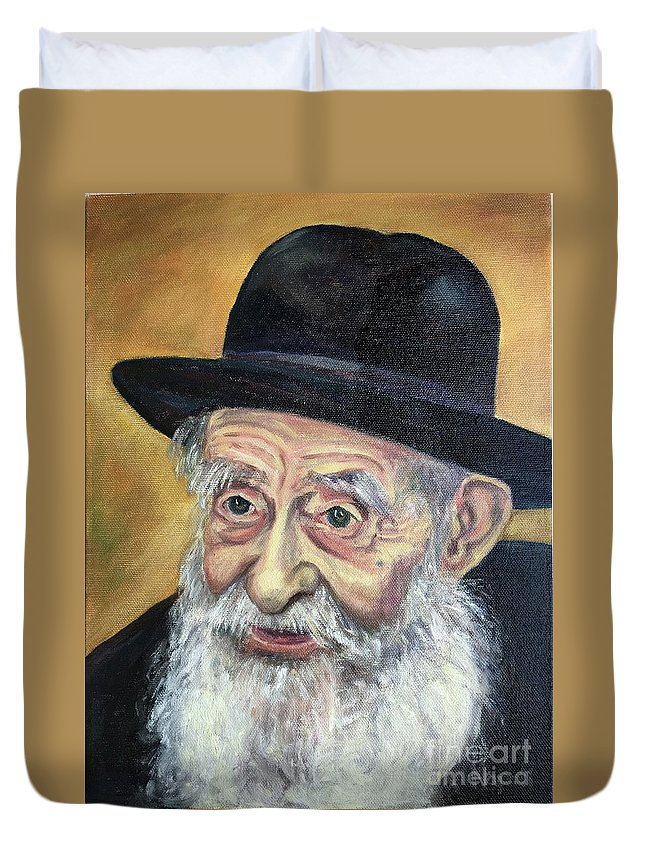 Jewish Duvet Cover featuring the painting The Rabbi by Laura Napoli