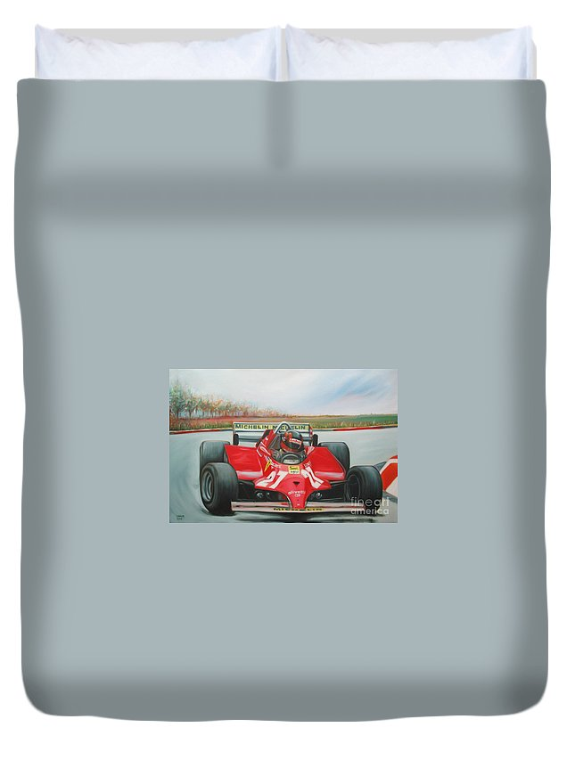 Race Duvet Cover featuring the painting The Racing Car by Sukalya Chearanantana