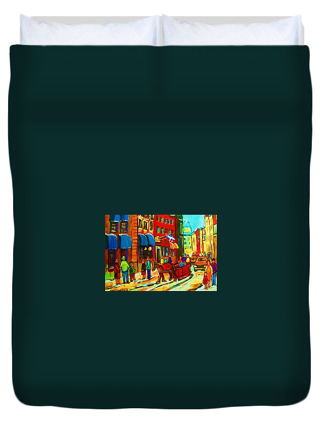 Montreal Duvet Cover featuring the painting The Red Sled by Carole Spandau