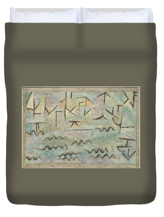 Paul Klee The Rhine At Duisburg Duvet Cover featuring the painting The Rhine At Duisburg by Paul Klee
