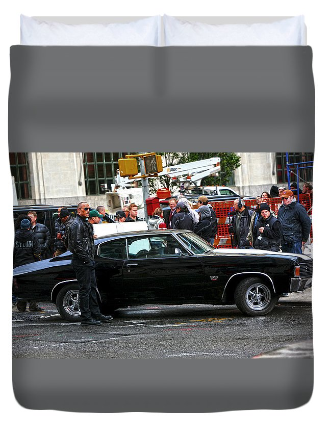 The Rock Duvet Cover featuring the photograph The Rock Dwayne Johnson On The Set Of The Other Guys by Artisan Array
