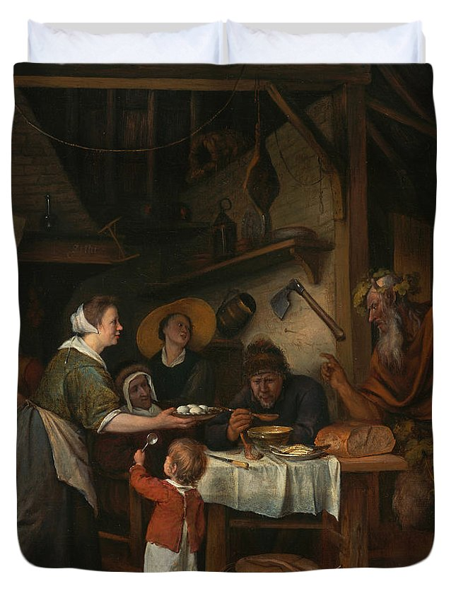 Baroque Duvet Cover featuring the painting The Satyr And The Peasant Family by Jan Steen