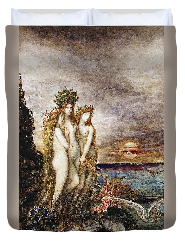 Mermaid Duvet Cover featuring the painting The Sirens by Gustave Moreau
