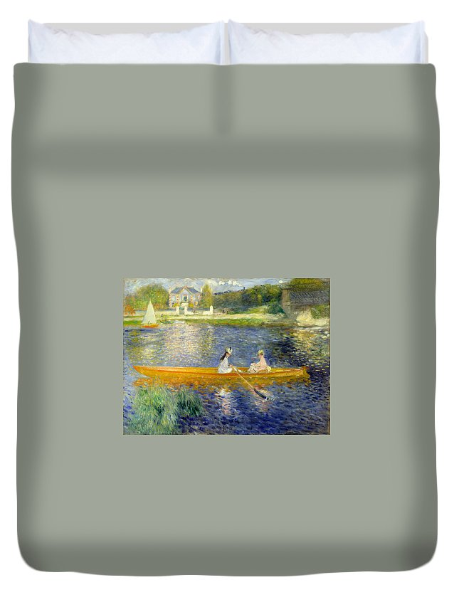 Boat Duvet Cover featuring the painting The Skiff by Pierre-Auguste Renoir