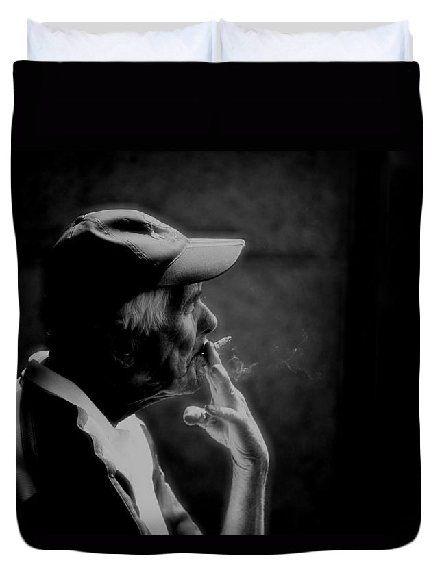 Smoker Duvet Cover featuring the photograph The Smoker by Sheila Smart Fine Art Photography