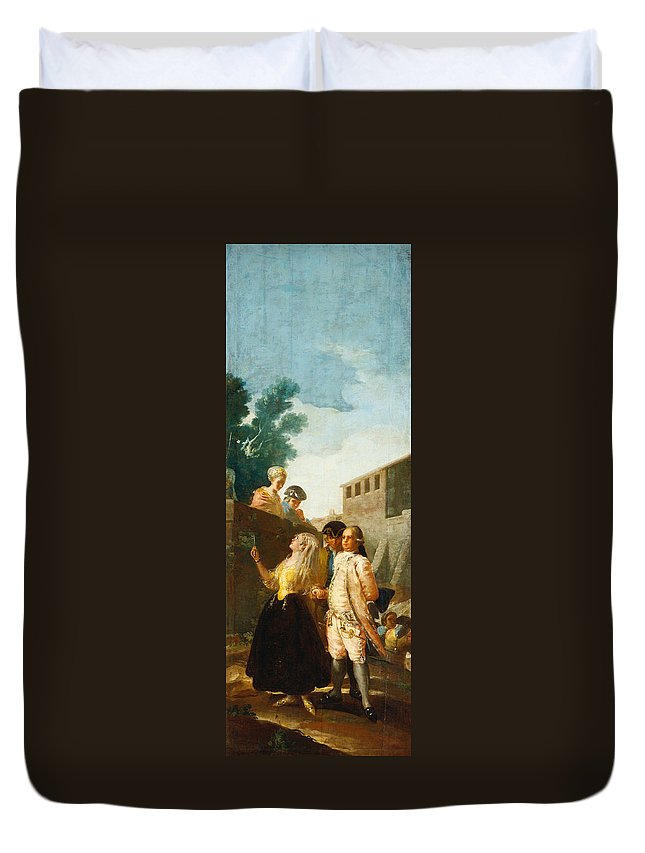 Couple Duvet Cover featuring the painting The Soldier And The Lady by Francisco Goya