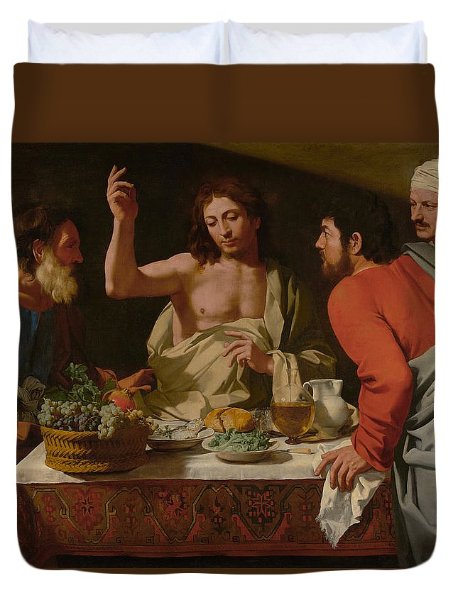 Bartolomeo Duvet Cover featuring the painting The Supper At Emmaus by Bartolomeo Cavarozzi