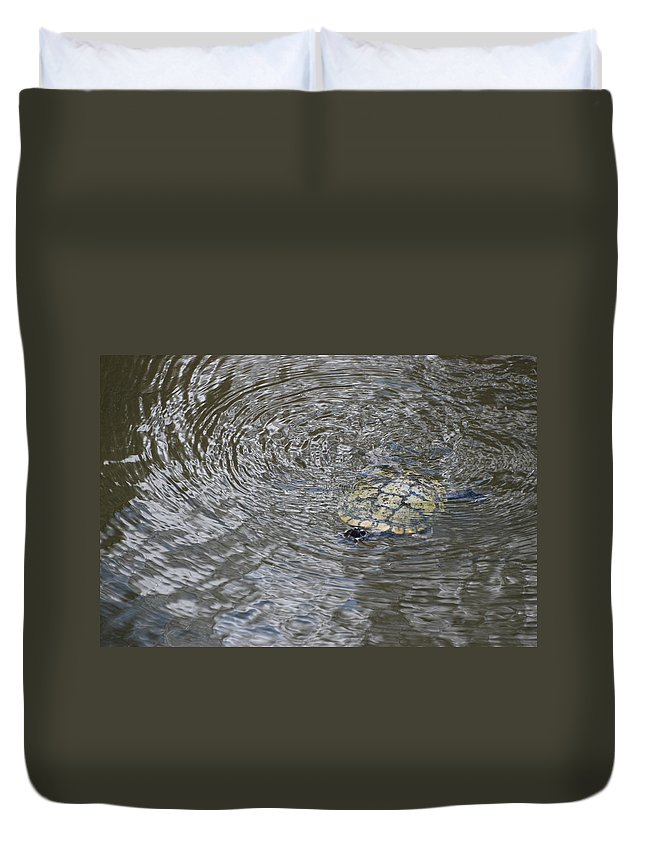 Water Duvet Cover featuring the photograph The Swimming Turtle by Rob Hans