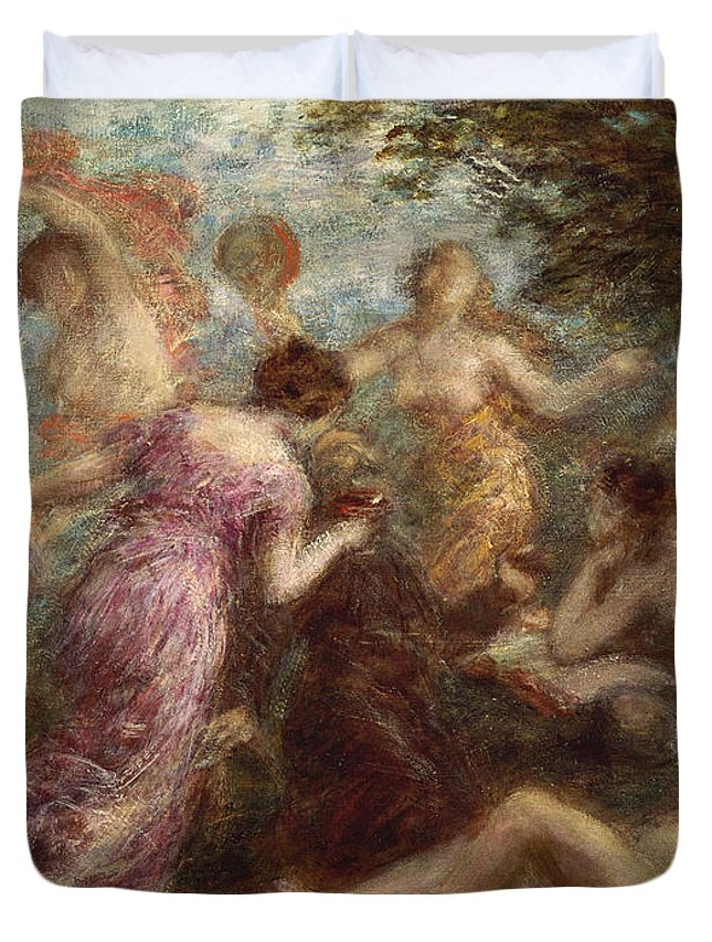 Gold Duvet Cover featuring the painting The Temptation Of St. Anthony by Henri Fantin Latour